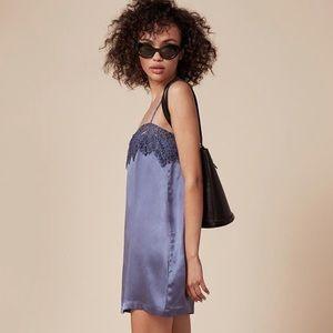 Reformation Adelle dress, blue / purple silk slip
